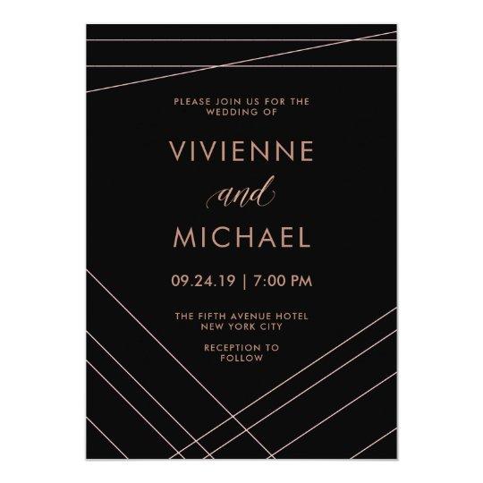 Líneas modernas boda color de rosa negro y falso invitación 12,7 x 17,8 cm