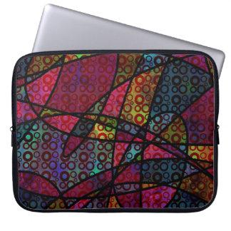 Líneas negras y multicolor intrépidos, texturas funda para portátil