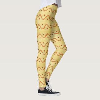 Líneas onduladas amarillas femeninas bonitas leggings