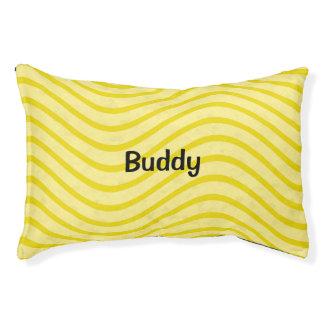 Líneas onduladas amarillas limón brillantes cama para mascotas