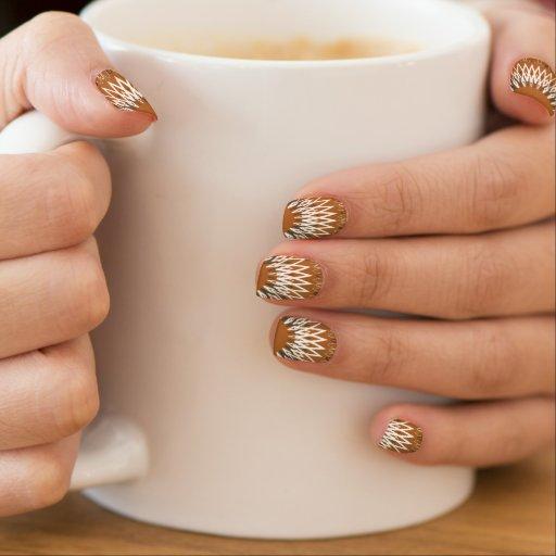 Líneas onduladas anaranjadas stickers para uñas