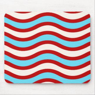 Líneas onduladas blancas rayas de la turquesa roja alfombrilla de ratón