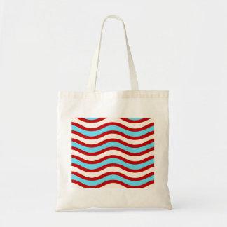 Líneas onduladas blancas rayas de la turquesa roja bolsas de mano