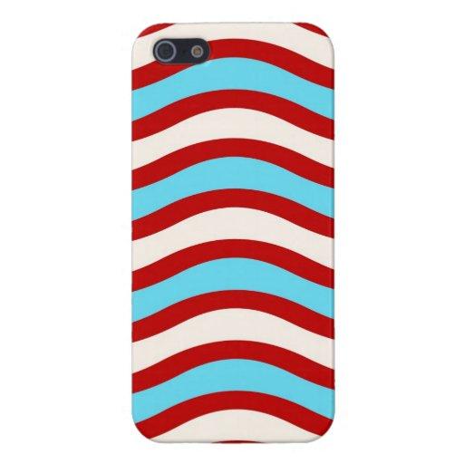 Líneas onduladas blancas rayas de la turquesa roja iPhone 5 cárcasa