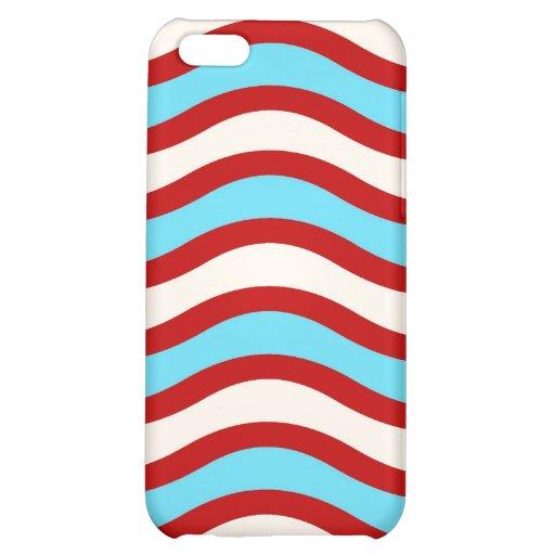 Líneas onduladas blancas rayas de la turquesa roja