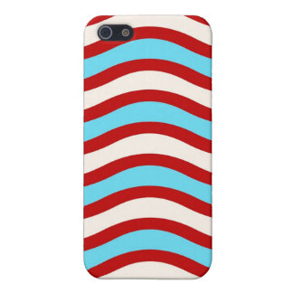 Líneas onduladas blancas rayas de la turquesa roja iPhone 5 fundas