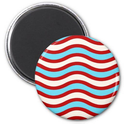 Líneas onduladas blancas rayas de la turquesa roja imanes