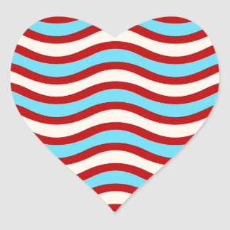 Líneas onduladas blancas rayas de la turquesa roja pegatinas corazon personalizadas