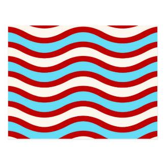 Líneas onduladas blancas rayas de la turquesa roja postal
