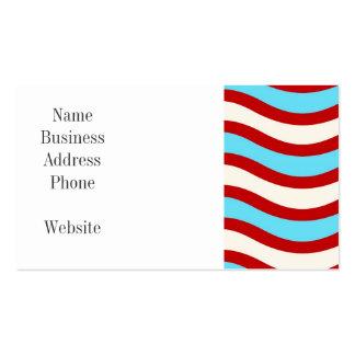 Líneas onduladas blancas rayas de la turquesa roja tarjetas de visita