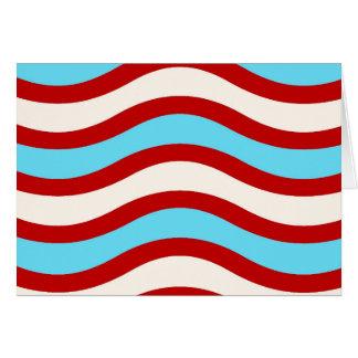 Líneas onduladas blancas rayas de la turquesa roja tarjeta pequeña