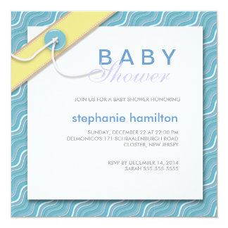 Líneas onduladas de encargo bebé invitación 13,3 cm x 13,3cm
