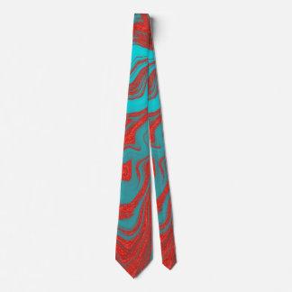 Líneas onduladas de la turquesa roja corbatas