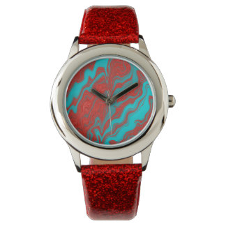 Líneas onduladas de la turquesa roja relojes de mano
