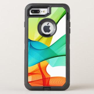 Líneas onduladas dinámicas abstractas coloridas funda OtterBox defender para iPhone 7 plus