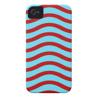 Líneas onduladas modelo de la turquesa roja del iPhone 4 Case-Mate coberturas