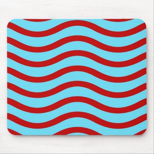 Líneas onduladas modelo de la turquesa roja del tr tapete de raton