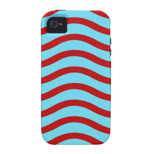 Líneas onduladas modelo de la turquesa roja del tr Case-Mate iPhone 4 fundas