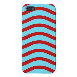 Líneas onduladas modelo de la turquesa roja del tr iPhone 5 protectores