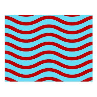 Líneas onduladas modelo de la turquesa roja del tr postales
