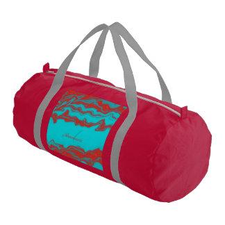Líneas onduladas monograma de la turquesa roja bolsa de deporte