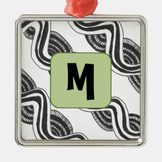 Líneas onduladas ornamento adorno navideño cuadrado de metal