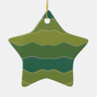 Líneas onduladas ornamento de la estrella del adorno navideño de cerámica en forma de estrella