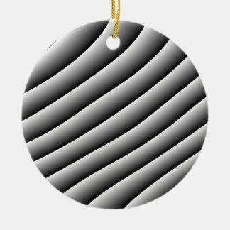 Líneas onduladas ornamento del vintage adorno navideño redondo de cerámica