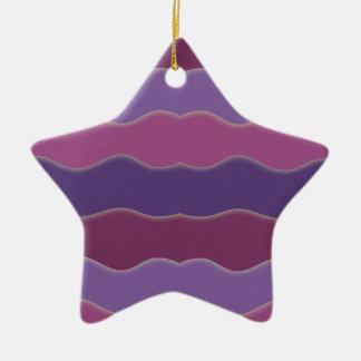 Líneas onduladas ornamento púrpura de la estrella adorno navideño de cerámica en forma de estrella