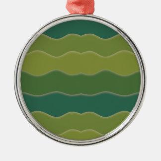 Líneas onduladas ornamento redondo superior del adorno navideño redondo de metal