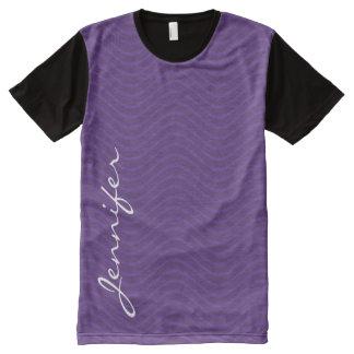Líneas onduladas púrpuras modelo camisetas con estampado integral
