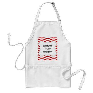 Líneas onduladas rojas y blancas regalos de la delantal