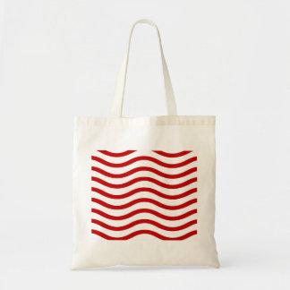Líneas onduladas rojas y blancas regalos de la div bolsa