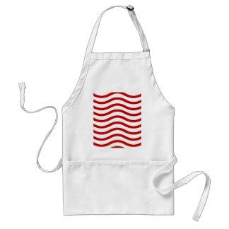 Líneas onduladas rojas y blancas regalos de la div delantal