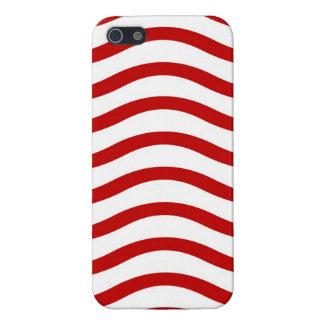 Líneas onduladas rojas y blancas regalos de la div iPhone 5 carcasa