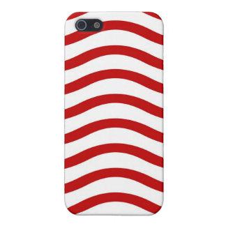 Líneas onduladas rojas y blancas regalos de la div iPhone 5 fundas