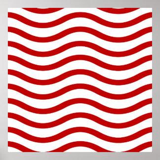 Líneas onduladas rojas y blancas regalos de la div poster