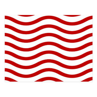 Líneas onduladas rojas y blancas regalos de la div tarjeta postal