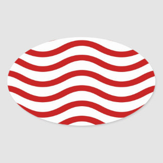 Líneas onduladas rojas y blancas regalos de la colcomanias oval personalizadas
