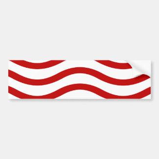 Líneas onduladas rojas y blancas regalos de la pegatina para coche
