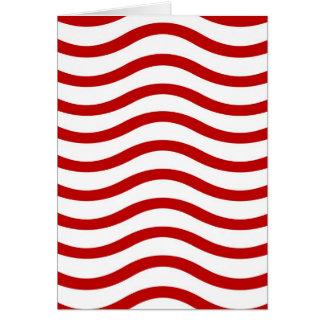 Líneas onduladas rojas y blancas regalos de la tarjeta de felicitación