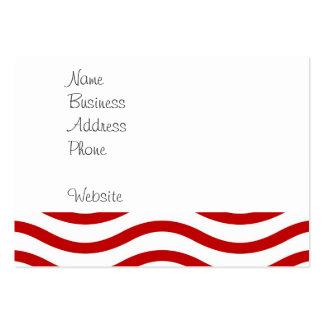 Líneas onduladas rojas y blancas regalos de la tarjetas de visita grandes