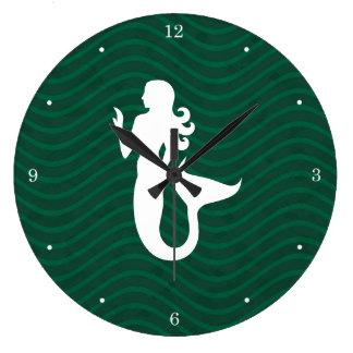 Líneas onduladas sirena de Forest Green Reloj Redondo Grande
