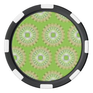 Líneas onduladas verde del modelo juego de fichas de póquer