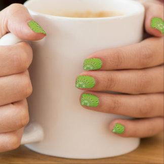 Líneas onduladas verde del modelo pegatinas para uñas