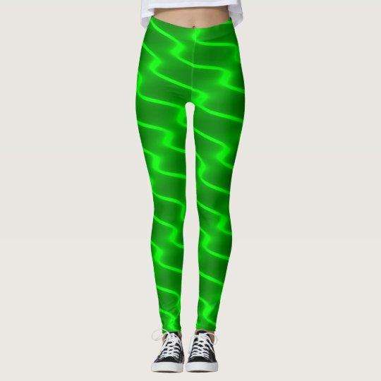 Líneas onduladas verdes de neón polainas leggings