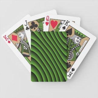 Líneas onduladas verdes hipnóticas naipes cartas de juego
