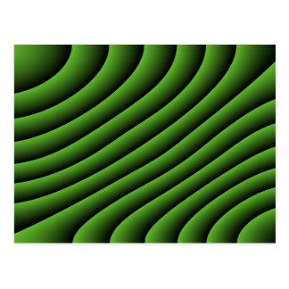 Líneas onduladas verdes hipnóticas postal