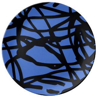 Líneas perdidas plato de porcelana