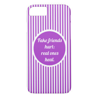 Líneas púrpuras y blancas lindas femeninas funda para iPhone 8/7